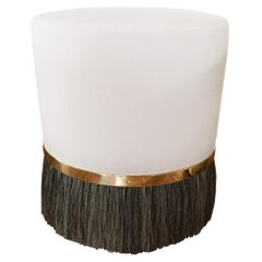 Thing 3 Stool Pouf with Brass, Horse Hair, and COM