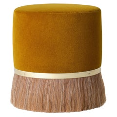 Thing 3 Stool with Brass, Horse Hair, and Velvet or COM
