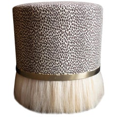 Thing 3 Stool with Brass, Horse Hair and Vintage Cheetah Print Faux Suede