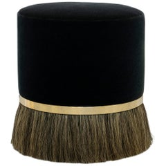 Thing 3 Stool with Horse Hair, Brass and Mohair (IN STOCK)