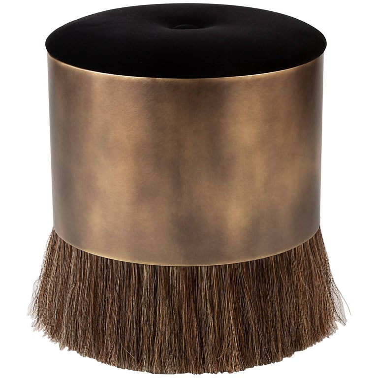 Thing 4 Stool Ottoman with Antique Brass and Horse Hair For Sale