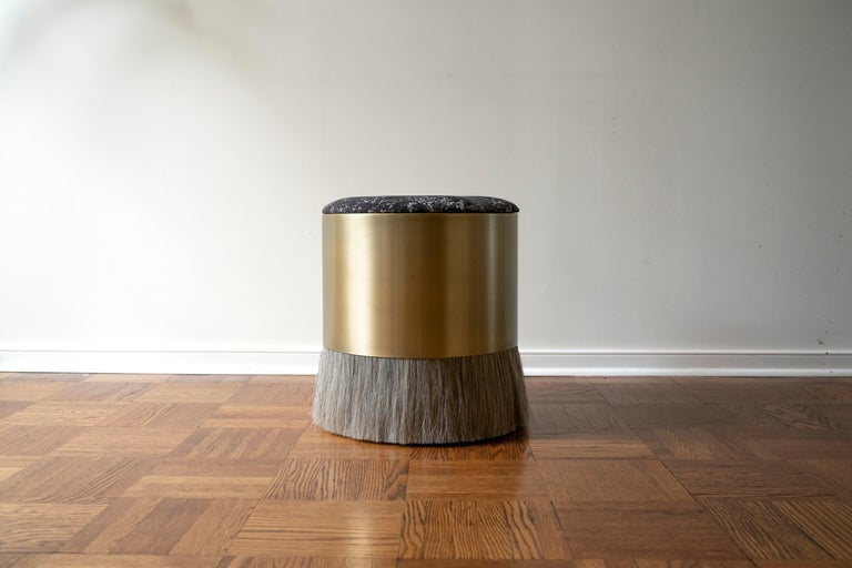 Velvet Thing 4 Stool Ottoman with Antique Brass and Horse Hair For Sale