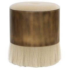 Thing 4 Stool with Horse Hair and Antique Brass