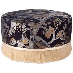 Thing Ottoman Poof with Brass, Horse Hair and Silk Jacquard