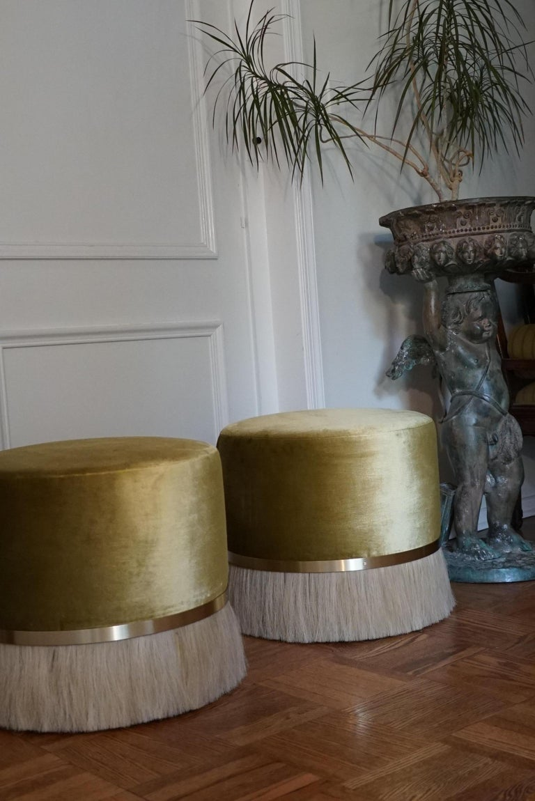 Thing Ottoman with Brass, Horse Hair, and Velvet or COM For Sale 1