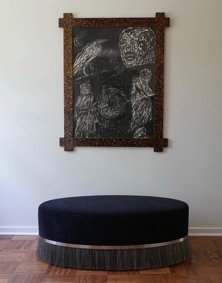 Thing Ottoman with Brass, Horse Hair, and Velvet or COM For Sale 4