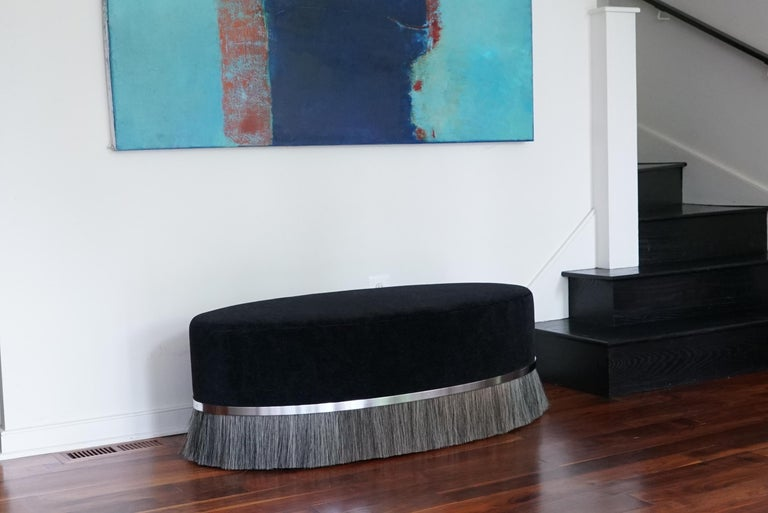 Thing Ottoman with Brass, Horse Hair, and Velvet or COM For Sale 5