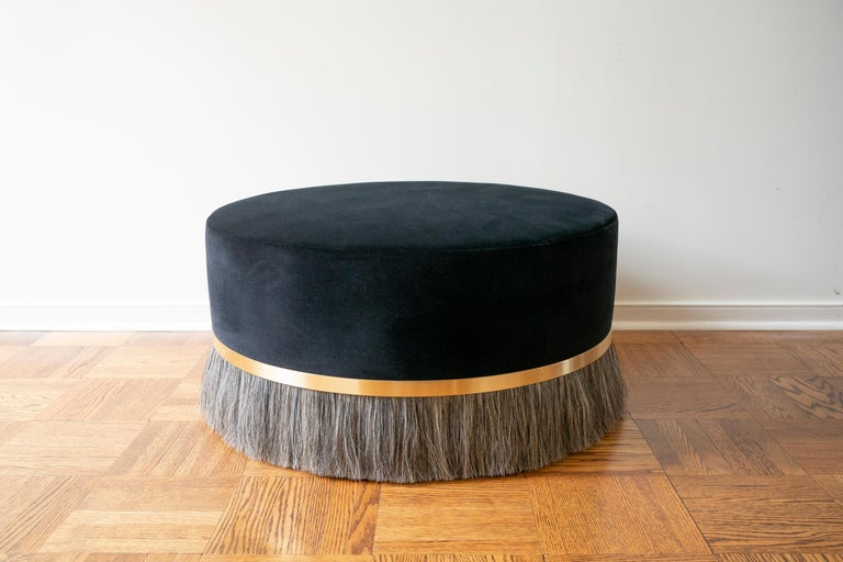 Thing Ottoman with Brass, Horse Hair, and Velvet or COM In New Condition For Sale In New York, NY
