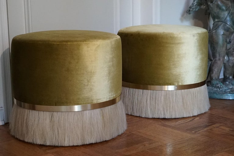Thing Ottoman with Brass, Horse Hair, and Velvet or COM For Sale 2