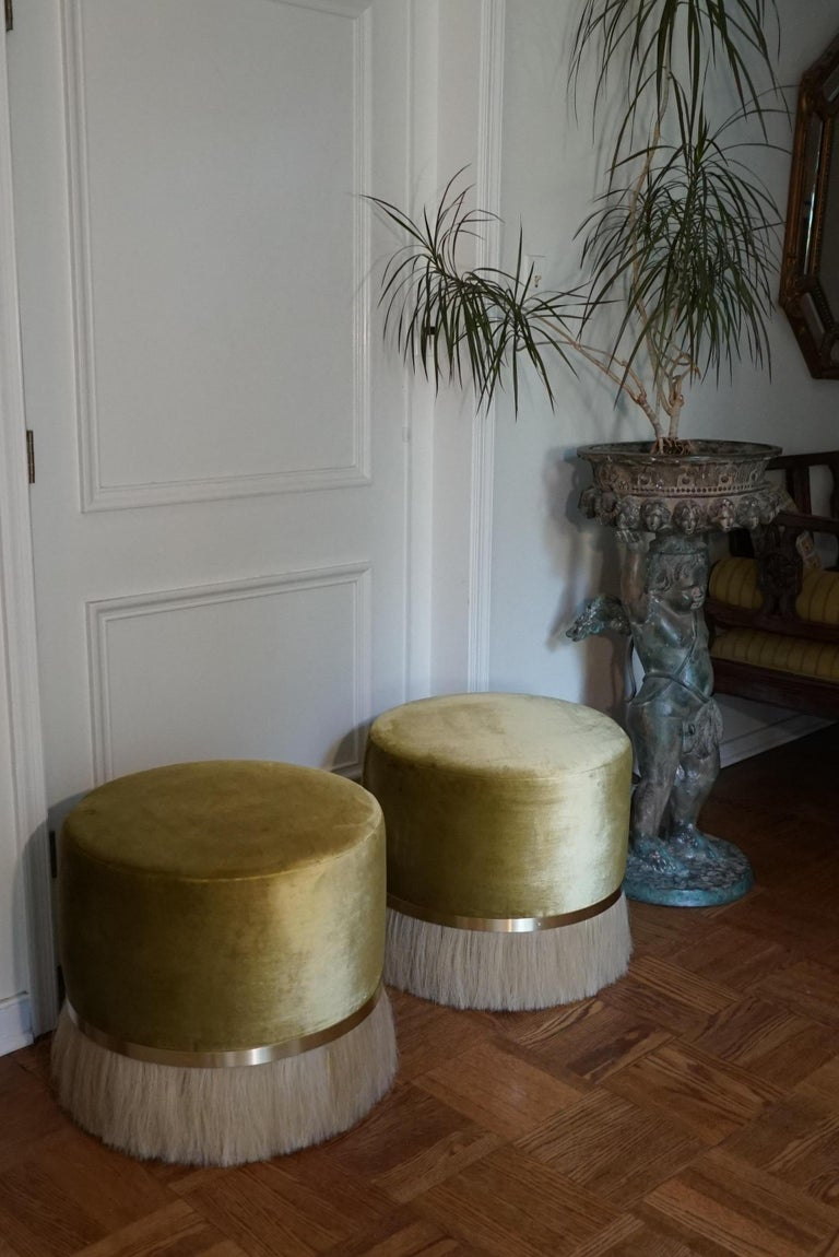Thing Ottoman with Brass, Horse Hair, and Velvet or COM For Sale 3