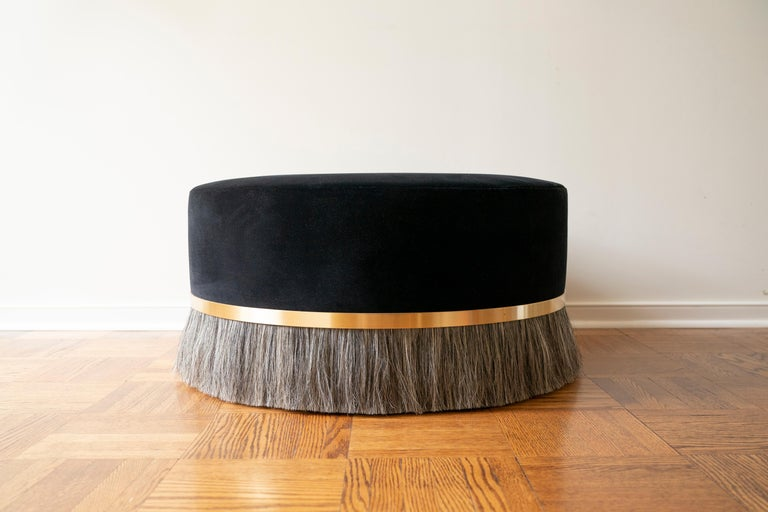 Polished Thing Ottoman with Brass, Horse Hair, and Velvet or COM For Sale
