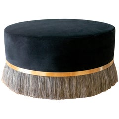 Thing Ottoman with Brass, Horse Hair, and Velvet or COM