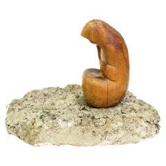 """Thinker"" Hand Carved Sculpture by Artist Feldman, 1970s"