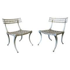 Thinline Aluminum Klismos Chairs, A Pair, 1960s