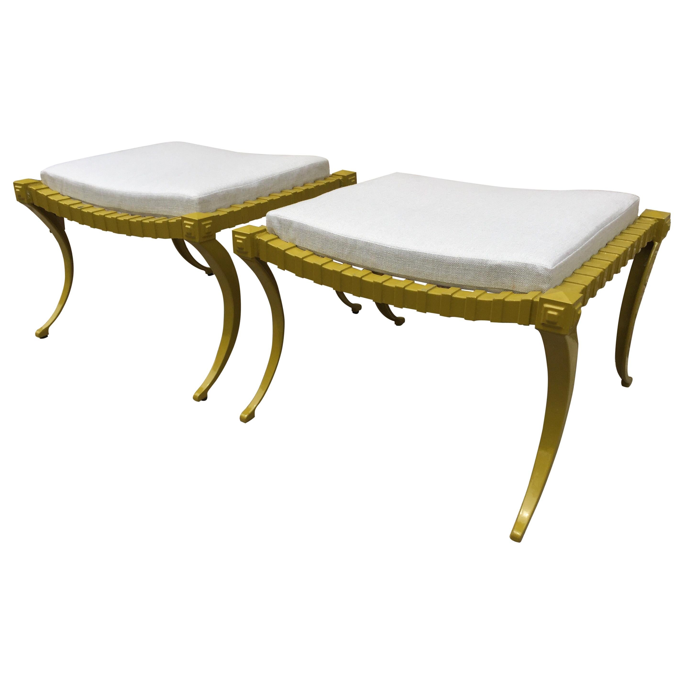 Thinline Aluminum Ottomans/ Benches in Chartreuse Green