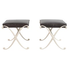 Thinline Leather and Aluminum Ottomans