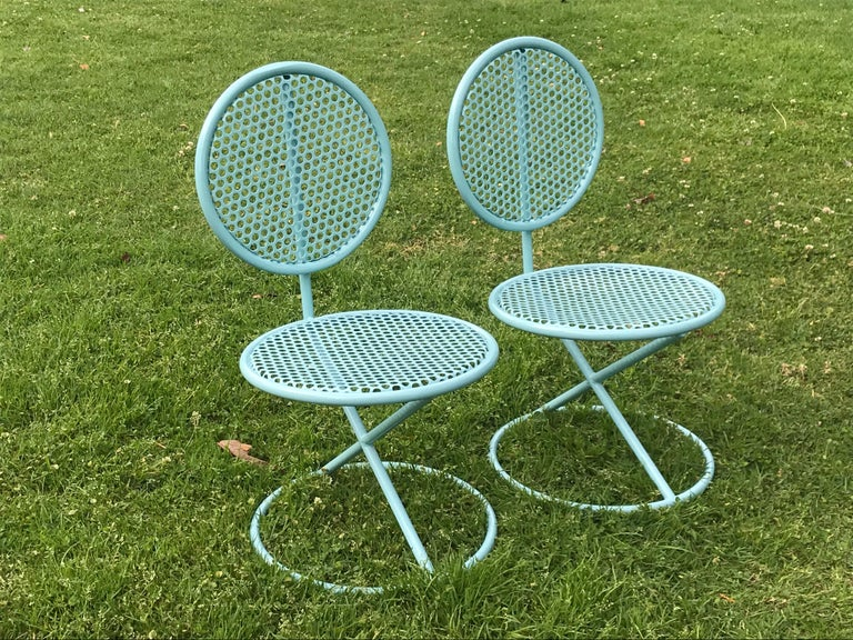 A rare set of California design chairs. They've been recently powder coated. Made of tubular steel. One of them has a slight dent on the top. Other than that they are in great condition, solid and sturdy. Great to use indoors or out....