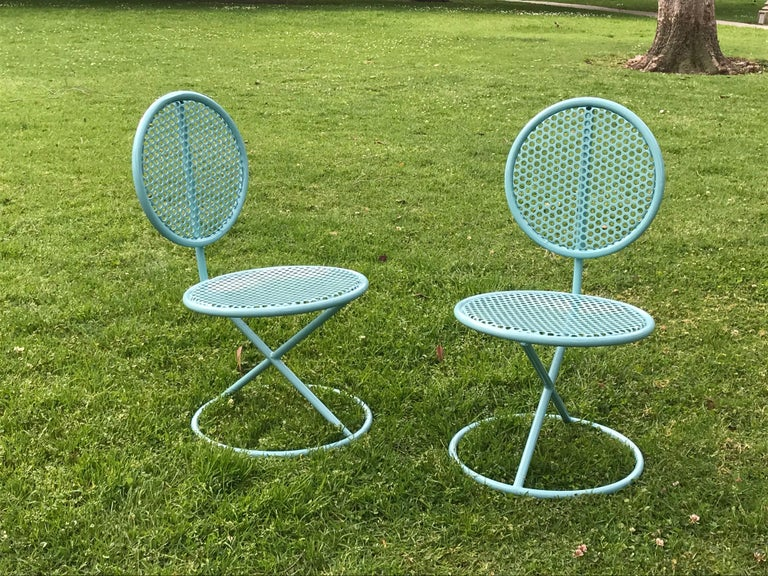 Powder-Coated Thinline Occasional Low Chairs, 1950s For Sale