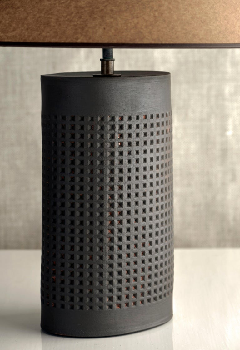 American Thira Lamp Extra Large, Ceramic Sculptural Table Lamp by Dumais Made For Sale