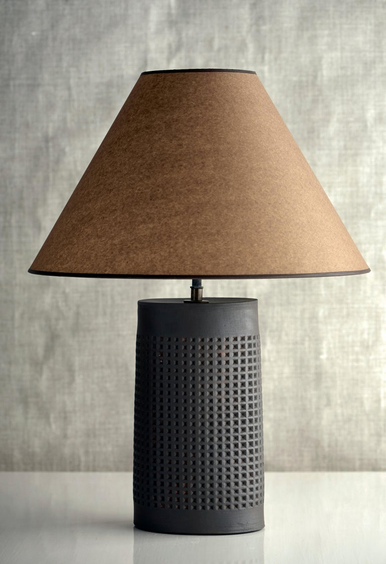 Fired Thira Lamp Extra Large, Ceramic Sculptural Table Lamp by Dumais Made For Sale