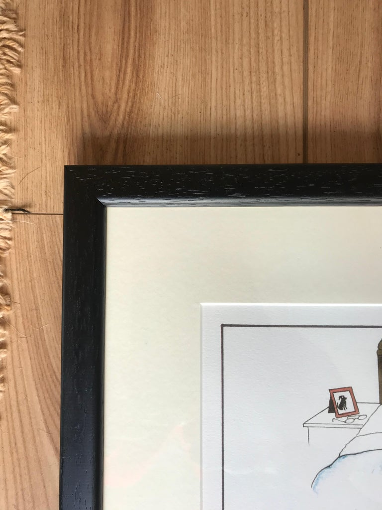 'Third person in a marriage', an original Tottering-by-Gently print by Annie Tempest.  A humorous framed dog print by the well known cartoonist Annie Tempest. Slobber, the Labrador happily lying on the bed between Daffy and Dicky. The perfect gift