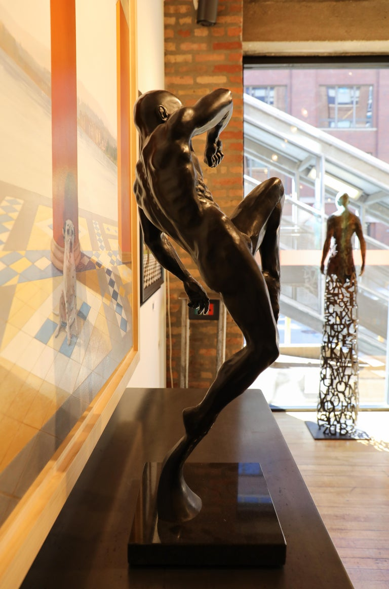 This Impact, Athletic Male Nude Dynamic Figure , Bronze Sculpture by Dean Kugler For Sale 6
