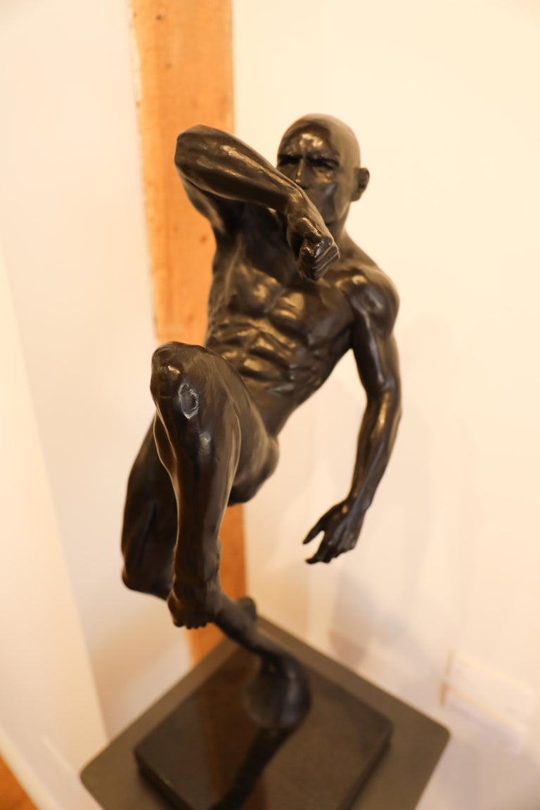 This Impact, Athletic Male Nude Dynamic Figure , Bronze Sculpture by Dean Kugler For Sale 8