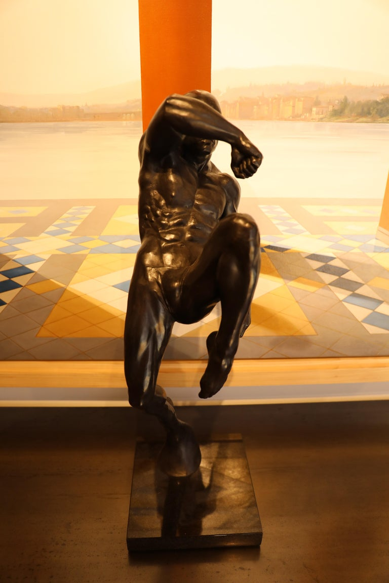 This Impact, Athletic Male Nude Dynamic Figure , Bronze Sculpture by Dean Kugler For Sale 10