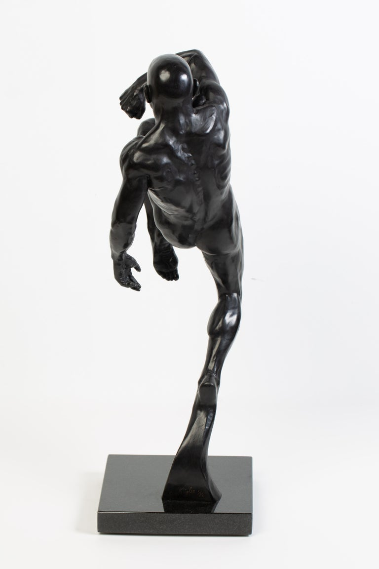 Futurist This Impact, Athletic Male Nude Dynamic Figure , Bronze Sculpture by Dean Kugler For Sale
