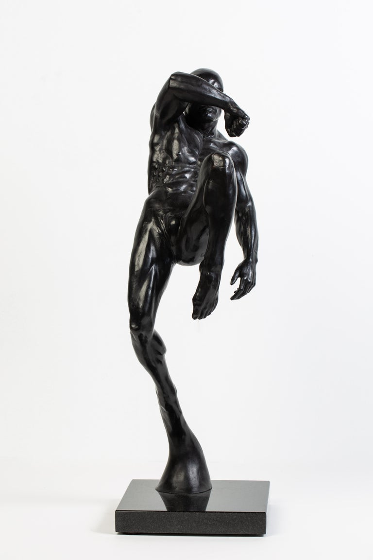 American This Impact, Athletic Male Nude Dynamic Figure , Bronze Sculpture by Dean Kugler For Sale