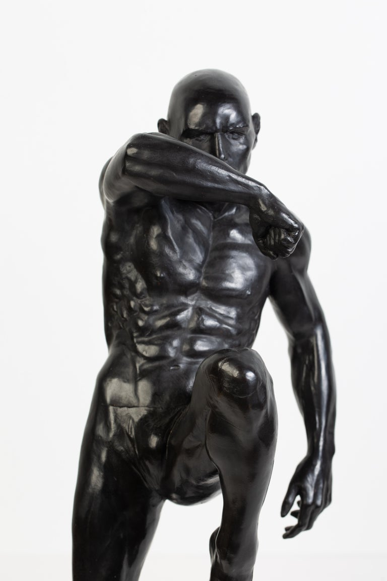 Cast This Impact, Athletic Male Nude Dynamic Figure , Bronze Sculpture by Dean Kugler For Sale
