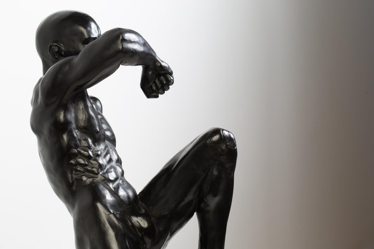 This Impact, Athletic Male Nude Dynamic Figure , Bronze Sculpture by Dean Kugler In New Condition For Sale In Chicago, IL