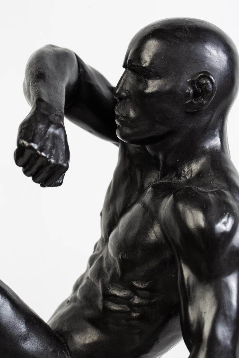 Contemporary This Impact, Athletic Male Nude Dynamic Figure , Bronze Sculpture by Dean Kugler For Sale
