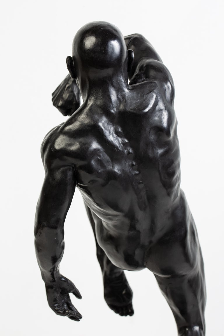 This Impact, Athletic Male Nude Dynamic Figure , Bronze Sculpture by Dean Kugler For Sale 1