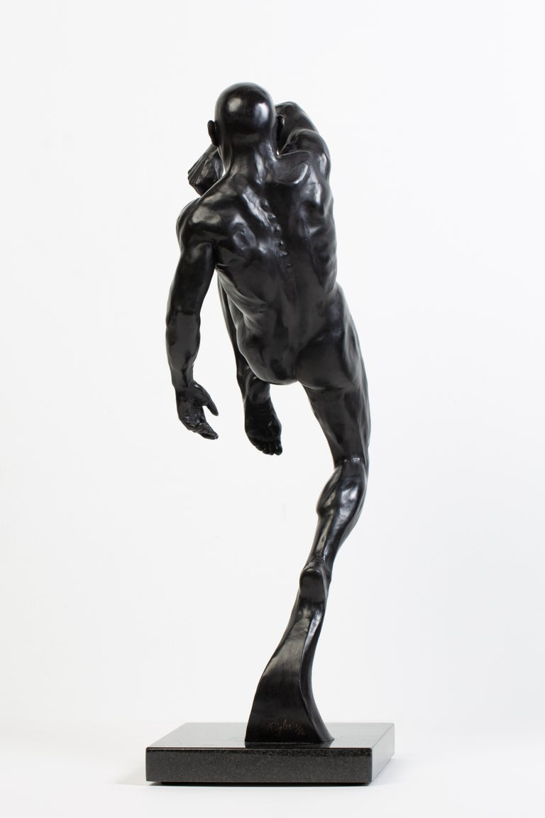 This Impact, Athletic Male Nude Dynamic Figure , Bronze Sculpture by Dean Kugler For Sale 2