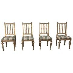 This Set of Four 19th Century Swedish Louis XVI Gilded Chairs