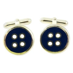 Thistle and Bee Sterling Silver Blue Enamel Button Cufflinks