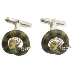 Thistle and Bee Sterling Silver Cobra Cufflinks