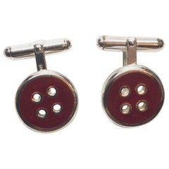 Thistle and Bee Sterling Silver Red Enamel Button Cufflinks