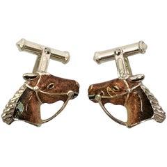 Thistle & Bee Sterling Silver Enamel Horse Cufflinks