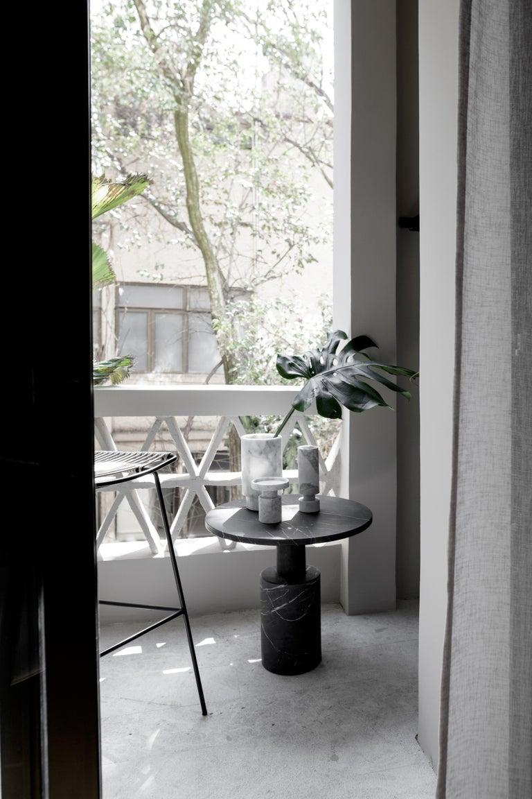 Modern Tholos Black Marble Medium Side Table For Sale