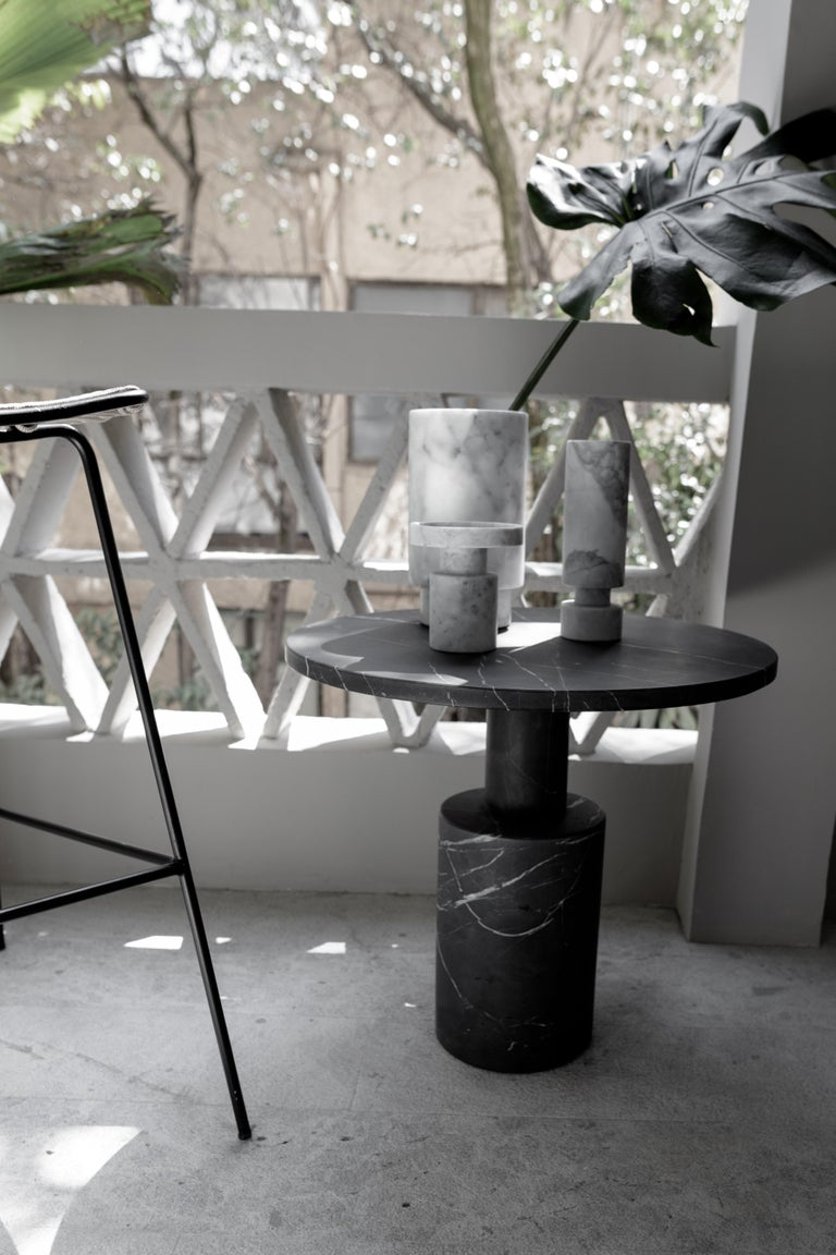 Mexican Tholos Black Marble Medium Side Table For Sale