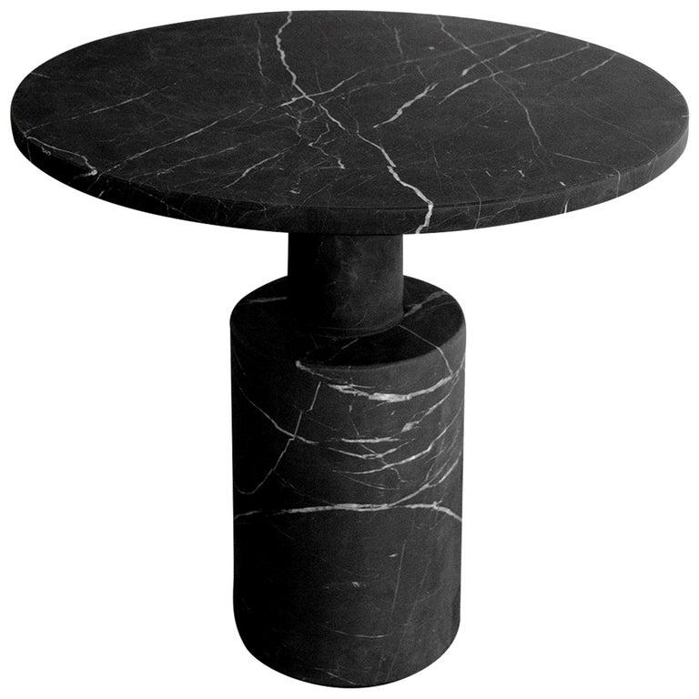 Tholos Black Marble Medium Side Table For Sale