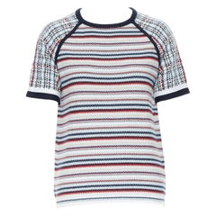 THOM BROWNE 100% cotton blue white striped knitted boxy short sleeve sweater S