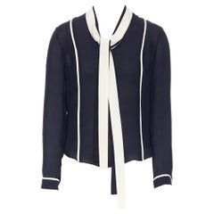 THOM BROWNE 100% silk navy  white trimm pussy bow tie blouse top US0