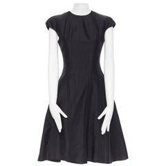 THOM BROWNE black silk contour panel insert cap sleeve flared dress US0 XS