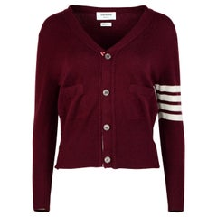 Thom Browne Burgundy Wool Classic Four-Bar V-Neck Cardigan Sz 2