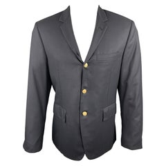 THOM BROWNE Chest Size 38 Black Solid Wool Notch Lapel Sport Coat