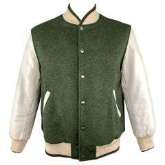 THOM BROWNE Chest Size XL Olive & White Wool Leather Sleeve Bomber Letterman Jac