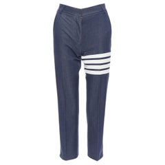 "THOM BROWNE dark indigo blue 4 stripe signature tab cropped jeans IT38 26"""